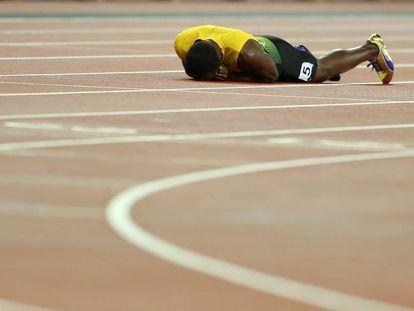 Usain Bolt, tras fallar en el relevo 4x100 en los mundiales de atletismo de  2017.