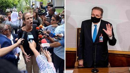 Manuela Bolívar, legisladora del partido Voluntad Popular en enero 2020. A la derecha, Didalco Bolívar, segundo vicepresidente de la Asamblea Nacional en diciembre 2020.