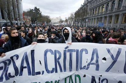 Manifestación en Madrid, convocada tras la jornada de huelga educativa.