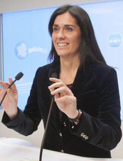 La portavoz del PP gallego en una rueda de prensa