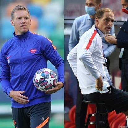 Julen Nagelsmann, en una sesión del Leipzig en el José Alvalade. A la derecha, Thomas Tuchel en un entrenamiento del PSG en el Estadio da Luz. MIGUEL A. LOPES (REUTERS) / DAVID RAMOS (AFP)