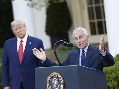 Anthony Fauci, en primer término, en una rueda de prensa en la Casa Blanca, este domingo.