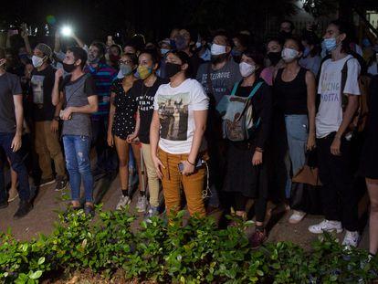 Una protesta de artistas ante el Ministerio de Cultura cubano, el pasado 27 de noviembre en La Habana.