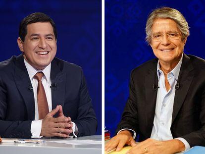 Andrés Arauz y Guillermo Lasso, en uno de los debates presidenciales de Ecuador.
