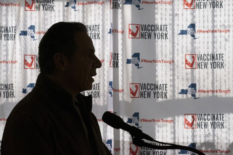 Governor Andrew Cuomo, this Wednesday at a press conference in New York.