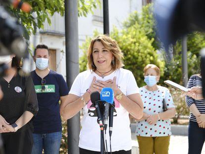 La expresidenta de la Junta y secretaria general del PSOE andaluz, Susana Díaz, el 24 de mayo  en Guarroman (Jaén).