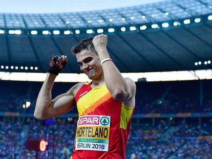 Bruno Hortelano celebra su clasificación a la final de 200 metros de los Campeonatos Europeos de Berlín.