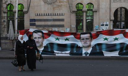 Carteles electorales a favor de Bachar el Asad, el pasado día 18 en Damasco.