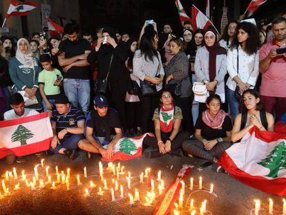 Vigilia en memoria de Alaa Abu Fajer, este miércoles en Sidón.