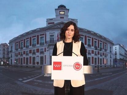 La presidenta de la Comunidad de Madrid, Isabel Díaz Ayuso, durante un acto este viernes.