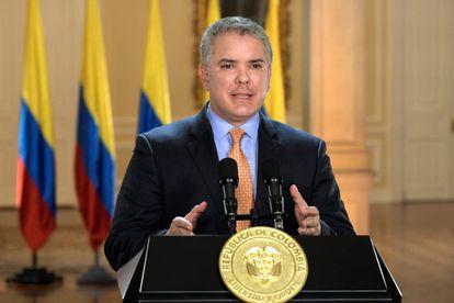 El presidente de Colombia, Iván Duque, este martes en rueda de prensa.