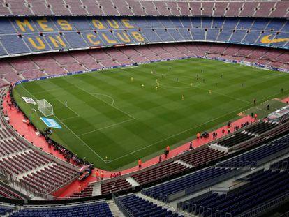 El Camp Nou en el Barcelona-La Palmas, cuando se jugó sin público.