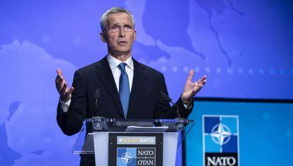 El secretario general de la OTAN, Jens Stoltenberg, en una conferencia de prensa sobre Afganistán el 20 de agosto en Bruselas.