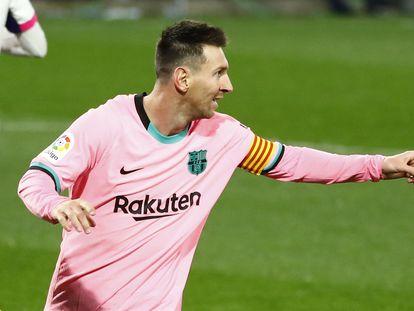 Messi celebra su gol ante el Valladolid, el 22 de diciembre.