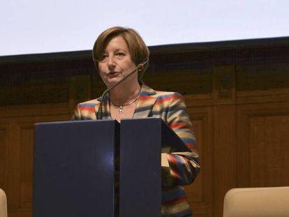 La presidenta de la Corte Penal Internacional este martes en La Haya.