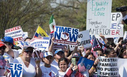 Protesta por reforma migratoria ante el Capitolio en Washington.