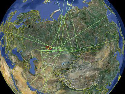Gráfico de las estaciones de la red de sensores de infrasonidos del CTBTO que registraron es estallido del asteroide sobre los Urales el 15 de febrero de 2013.