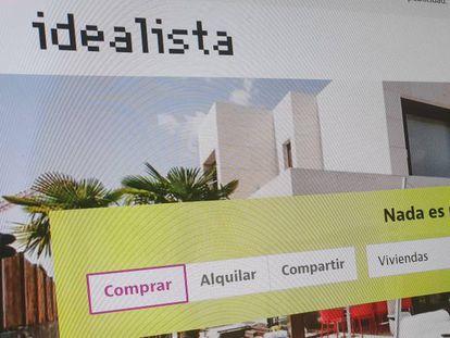 Web del portal inmobiliario Idealista.