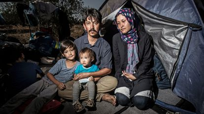 The Yussefi family on Lesbos in September 2020.