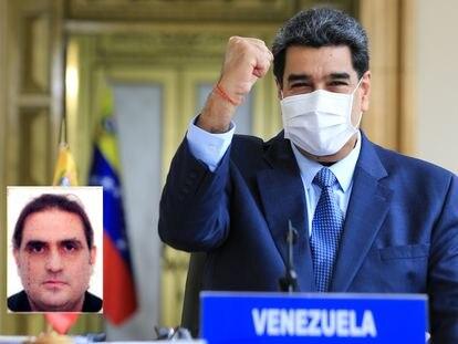 El presidente de Venezuela, Nicolás Maduro. En el recuadro, el empresario colombiano Alex Saab.