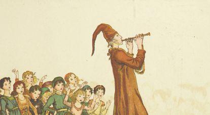 Ilustración de 'El flautista de Hamelín' (1889)