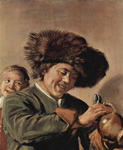 'Two smiling boys with a mug of beer', by Frans Hals dated 1626.