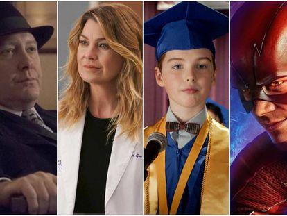 Desde la izquierda, los protagonistas de 'The Blacklist', 'Anatomía de Grey', 'El joven Sheldon' y 'The Flash'.