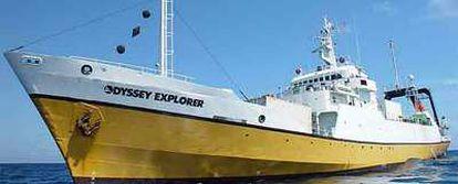 <b>El</b><i> Odyssey</i> <i>Explorer,</i> buque de 76 metros de eslora que la compañía Odyssey, con sede en Florida, utiliza para localizar pecios.
