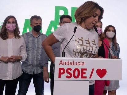 Susana Díaz en la sede del PSOE-A, tras las primarias celebradas este domingo.