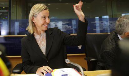 La nueva responsable de la diplomacia europea, la ministra italiana de Exteriores Federica Mogherini, el martes en una reunión ministerial en Bruselas