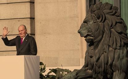 Juan Carlos I, durante los actos de conmemoracion del 40 aniversario de la Constitucion en el Congreso de los Diputados.