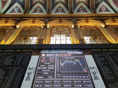 Panel con las cotizaciones de la Bolsa de Madrid.
