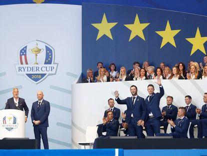Rahm y Rose, con el equipo europeo.