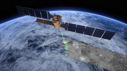 Ilustración del satélite europeo `Sentinel 1`, haciendo el barrido de radar sobre la superficie terrestre.