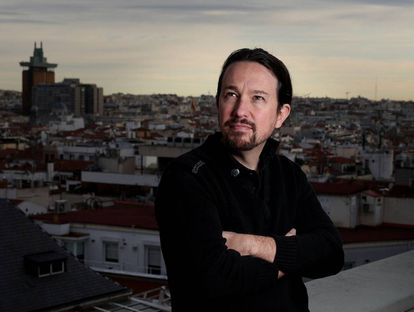 Pablo Iglesias, en una azotea de la Gran Vía de Madrid.