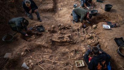 Un equipo arqueológico trabaja desde hace un mes en la fosa común hallada en el cementerio de Belchite (Zaragoza).