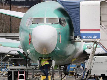 Un avión del modelo B737 MAX en la fábrica de Renton, Washington