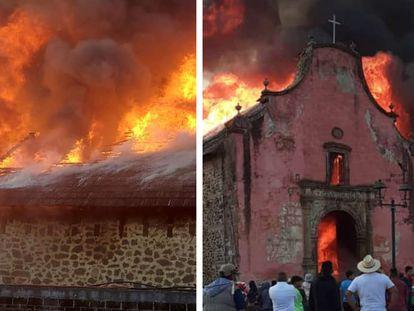Incendio en la Iglesia de Santiago Apóstol de la comunidad de Nurio, del municipio de Paracho Michoacán.