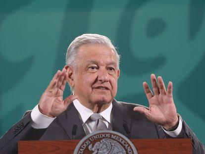 El presidente López Obrador, este jueves en Palacio Nacional.