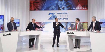 Nacho Álvarez, Luis de Guindos, Carlos de Vega, Jordi Sevilla y Luis Garicano.