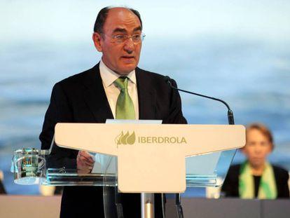 El presidente de Iberdrola, Ignacio Sánchez Galán, este viernes durante la Junta de Accionistas de la compañía eléctrica.