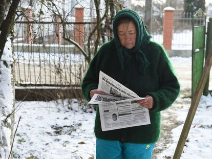 Olga Oprysko, madre de uno de los marineros ucranios cautivos por Moscú, el 29 de noviembre de 2018.