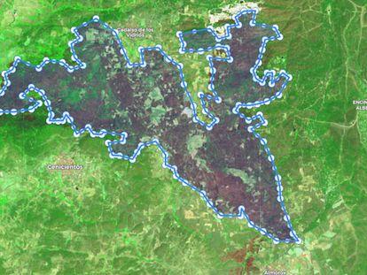 Imagen del incendio de Toledo y Madrid captada por el satélite Sentinel 2.