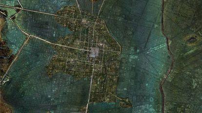 Reconstrucción de la isla de Tenochtitlán sobre un mapa de la Ciudad de México actual.