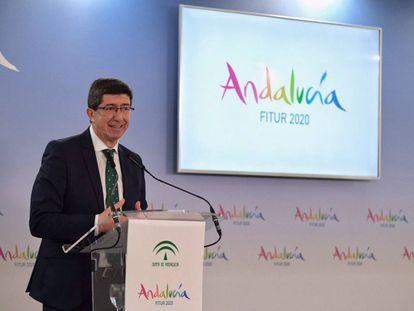 El vicepresidente de la Junta de Andalucía y líder de Cs en la comunidad, Juan Marín, en la inauguración de FITUR.