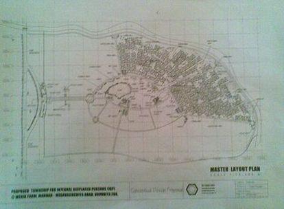 Plano que maneja el Gobierno con uno de los campos para los cerca de 200.000 desplazados tamiles de la guerra en el noreste del país. Cada campo albergará a unas 39.000 personas