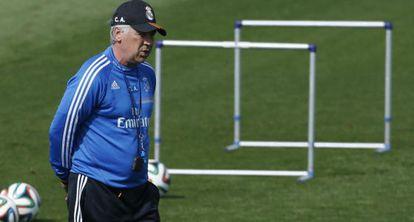 Carlo Ancelotti, durante el último entrenamiento antes de la Copa del Rey.
