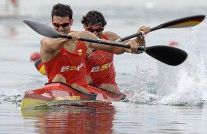 Craviotto y Rial, durante la final de Pekín.