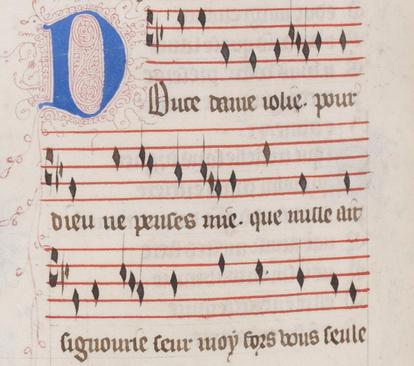 Manuscrito iluminado del siglo XIV con el comienzo del virelai 'Douce Dame jolie', de Guillaume de Machaut, que La Morra volvió a interpretar como propina al final de su concierto en la Pieterskerk.
