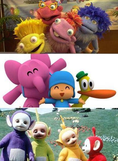 Algunos de los personajes de series infantiles más populares de la televisión: <i>Los Lunnis</i> (arriba), <i>Pocoyó</i> y <i>Los</i> <i>Teletubbies</i>.